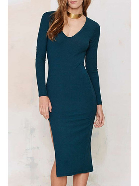 online Long Sleeve Side Slit Blue Dress - BLUE XS