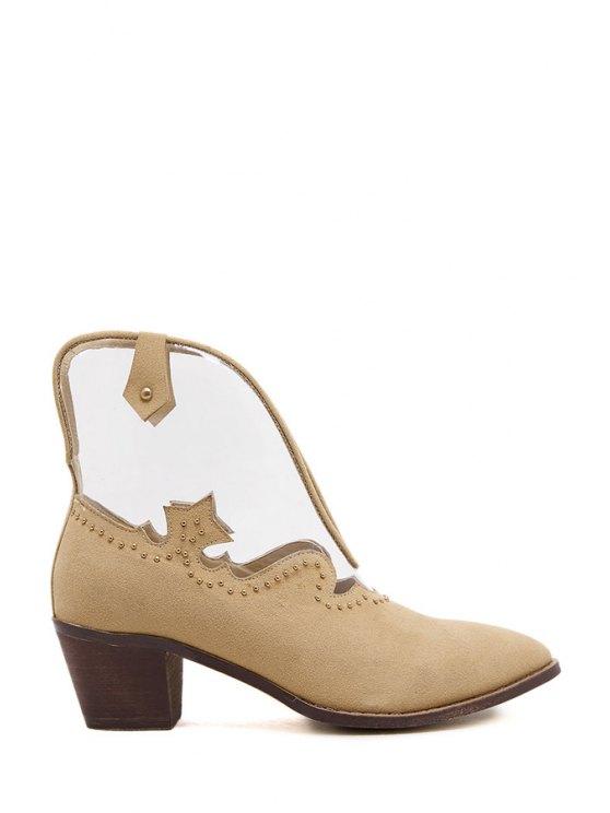 online Transparent Suede Rivet Ankle Boots - APRICOT 35