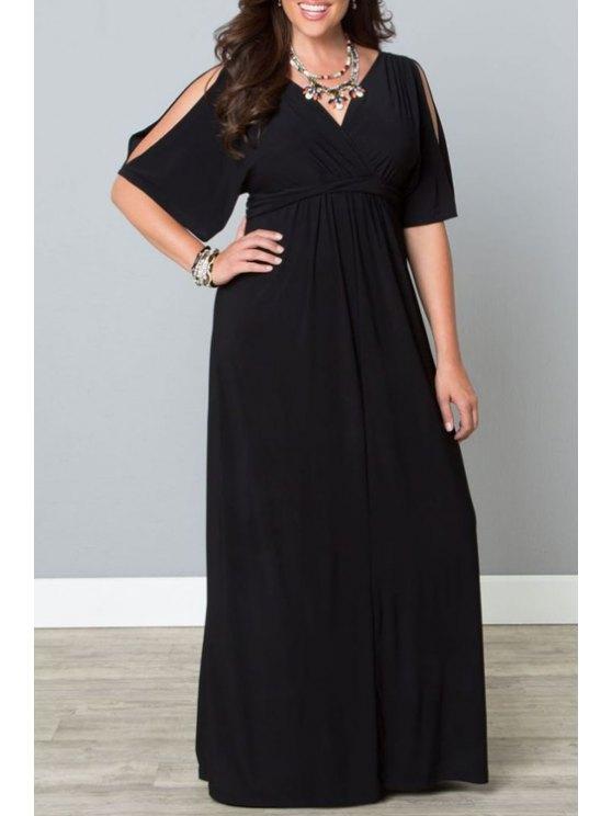 shops Black Plus-Sized V-Neck Half Sleeves Maxi Dress - BLACK XL