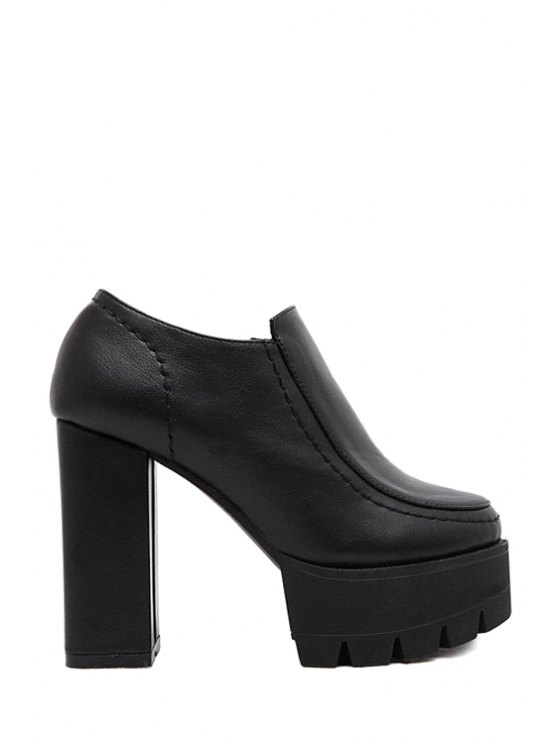 lady Stitching Chunky Heel Platform Ankle Boots - BLACK 35