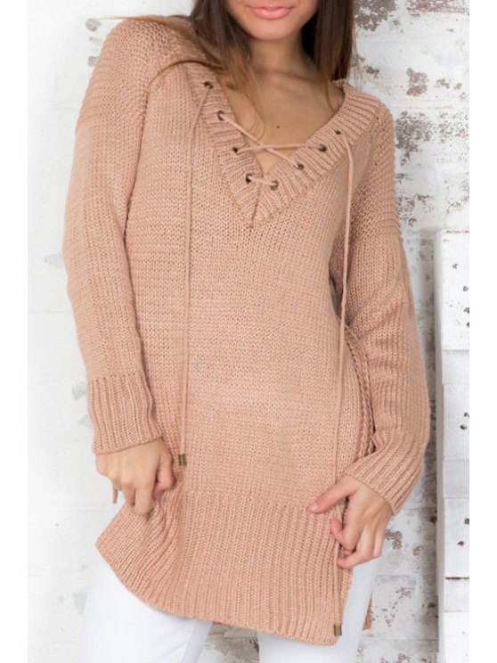 fashion V Neck Lace-Up Side Slit Sweater - KHAKI ONE SIZE(FIT SIZE XS TO M)