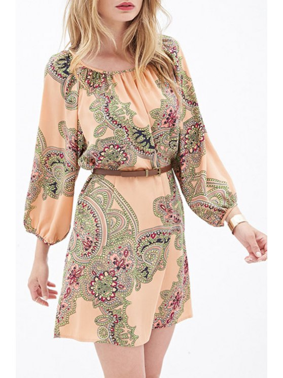 fancy Ethnic Print 3/4 Sleeves Dress - AS THE PICTURE XS