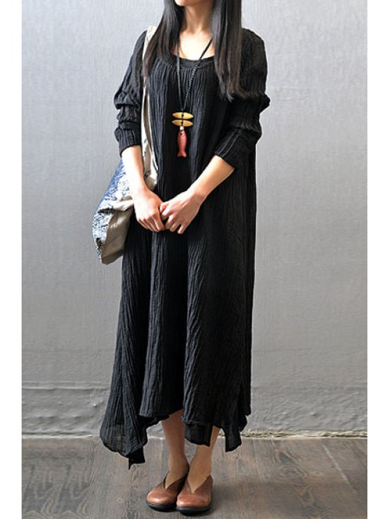 chic Color Block Pleated Long Sleeve Dress - BLACK ONE SIZE(FIT SIZE XS TO M)