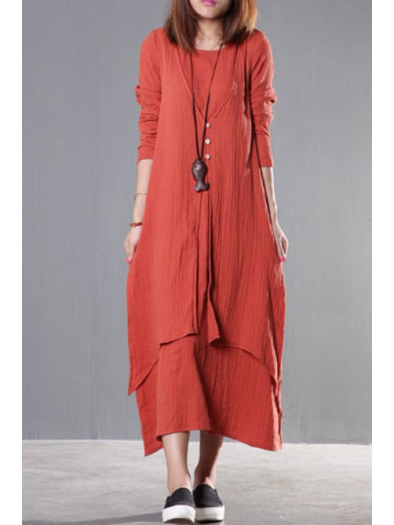 womens Pure Color Long Sleeve Spliced Dress - JACINTH ONE SIZE(FIT SIZE XS TO M)