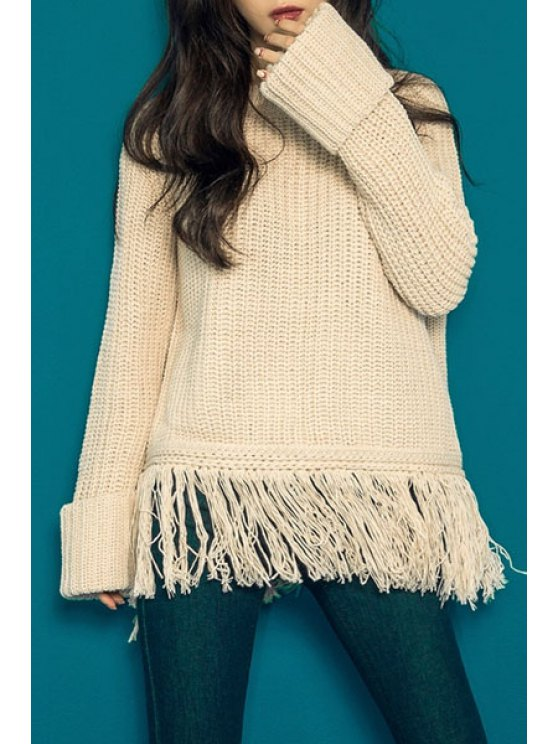 shops Tassels Round Neck Long Sleeve Jumper - APRICOT ONE SIZE(FIT SIZE XS TO M)