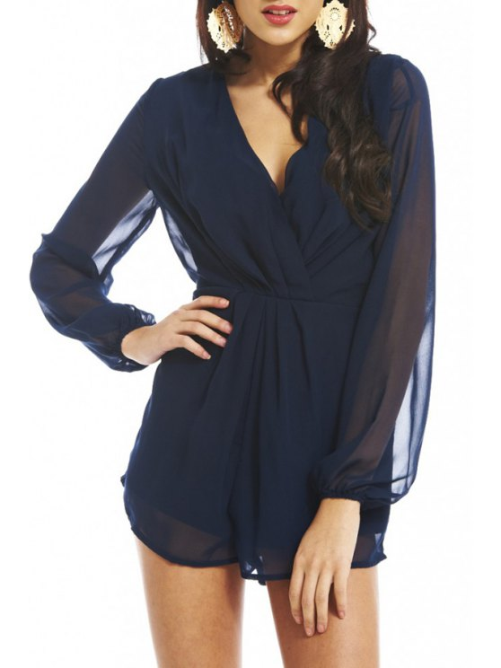 shops Plunging Neck See-Through Chiffon Playsuit - DEEP BLUE S