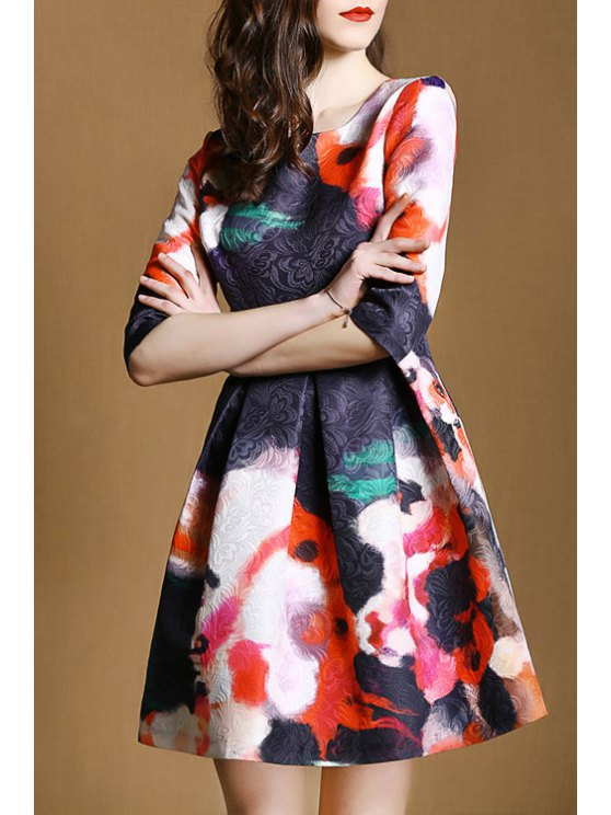 new Floral Print Half Sleeve Flare Dress - AS THE PICTURE S