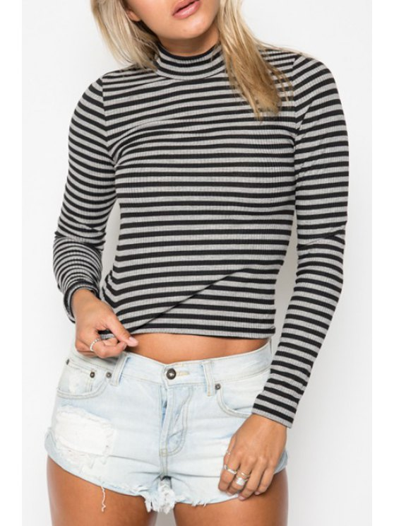 fancy Stand Neck Long Sleeve Striped Knitwear - WHITE AND BLACK S