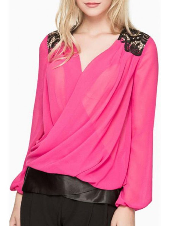 ladies Cross-Over Collar Lace Patchwork Chiffon Blouse - ROSE S