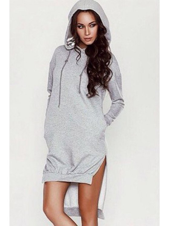 online Light Gray Hooded Long Sleeve Dress - GRAY S