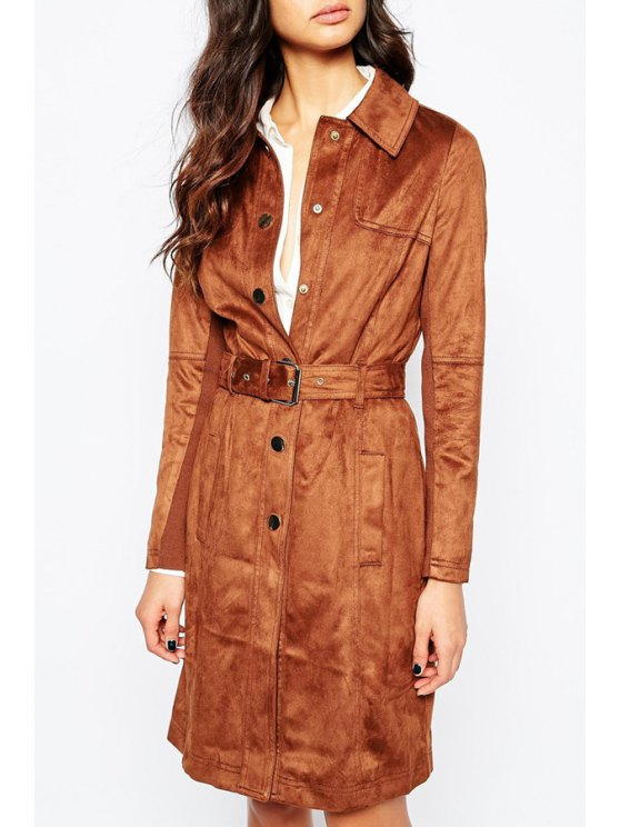 shops River Island Suedette Trench Coat - CAMEL S