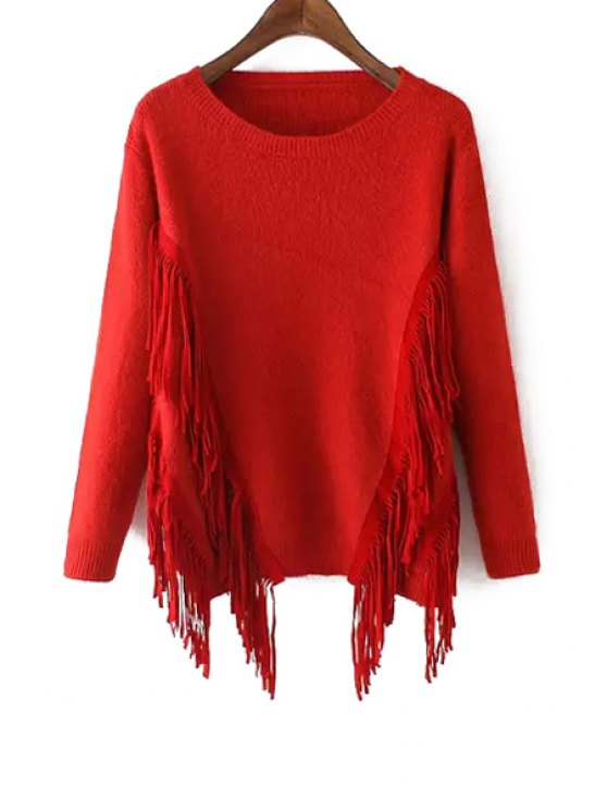 sale Solid Color Tassels Long Sleeves Pullover Sweater - RED ONE SIZE(FIT SIZE XS TO M)