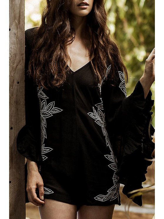 womens Floral Embroidery V Neck Long Sleeve Romper - BLACK M