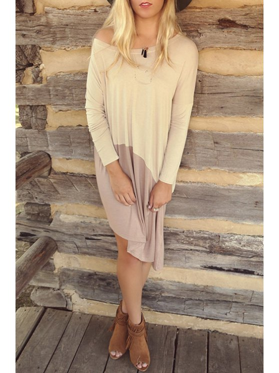 chic Color Block Irregular Hem Dress - OFF-WHITE S