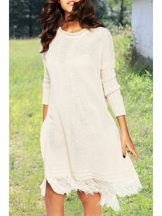 women's Off-White Jewel Neck Long Sleeve Jumper - OFF-WHITE ONE SIZE(FIT SIZE XS TO M)