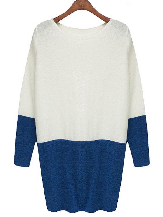 best Long Sleeve Hit Color Dress - WHITE S