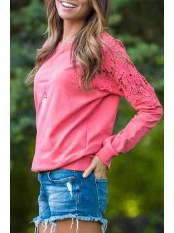 trendy Lace Spliced Round Neck Sweatshirt - RED XL