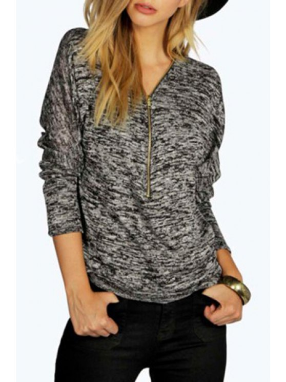 women's V-Neck Long Sleeve Zippered T-Shirt - GRAY S