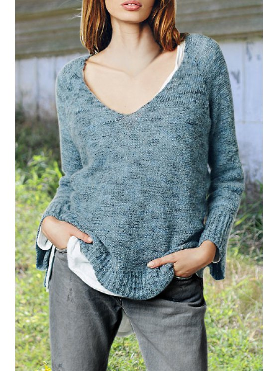 best Multi Color V Neck Long Sleeve Jumper - SAPPHIRE BLUE ONE SIZE(FIT SIZE XS TO M)