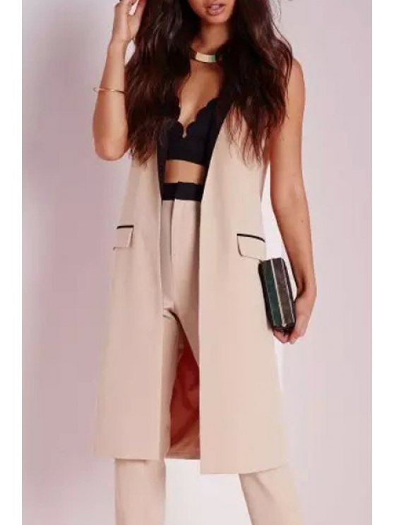 ladies Lapel Collar Color Block Long Waistcoat - YELLOWISH PINK S