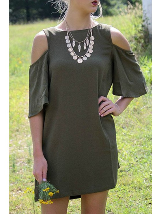 best Cut Out Round Neck Half Sleeve Dress - ARMY GREEN S