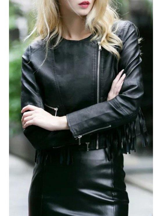buy Round Neck Fringed PU Leather Jacket - BLACK S