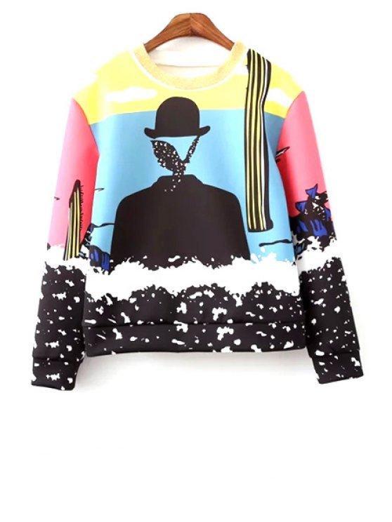 buy Round Neck Colorful Sweatshirt - COLORMIX M