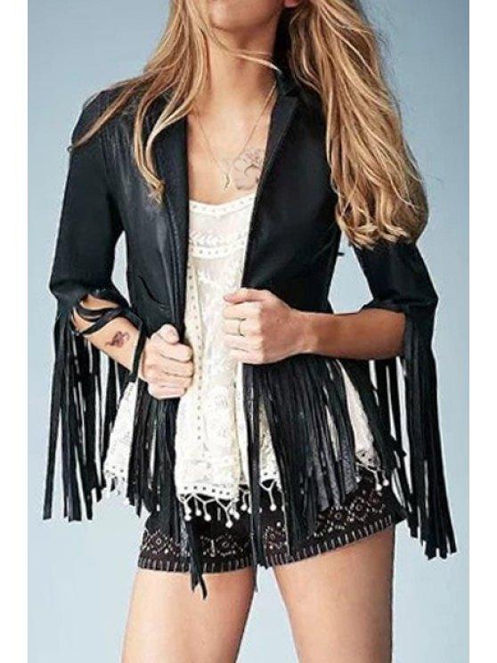 affordable Long Tassel Faux Leather Jacket - BLACK S