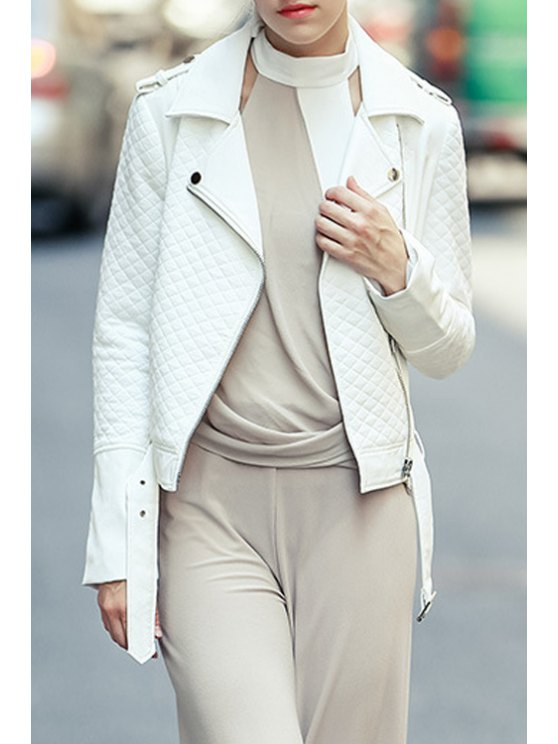 women Belted Checked White PU Leather Jacket - WHITE S