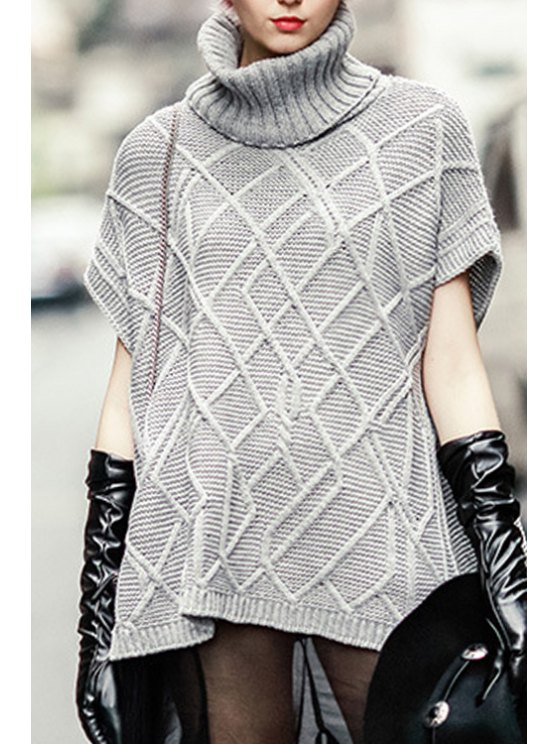 women Turtleneck Cable Knit Side Slit Sweater - GRAY S