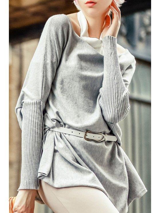 womens Slash Neck Batwing Sleeve Gray Sweater - GRAY S