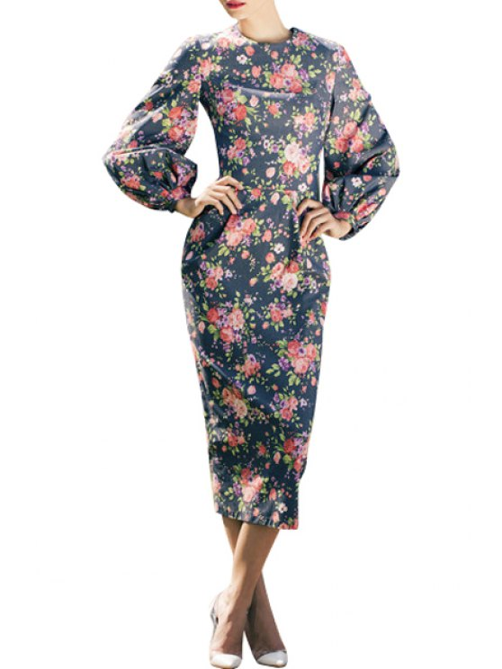 unique Floral Bodycon Round Neck Long Sleeve Dress - BLACK S