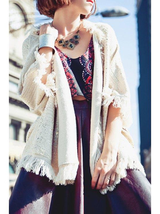 fancy Open Front Fringed Cloak Cardigan - OFF-WHITE S