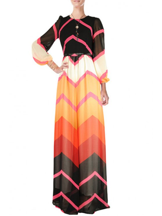 lady Zig Zag Round Neck Long Sleeve Maxi Dress - COLORMIX S