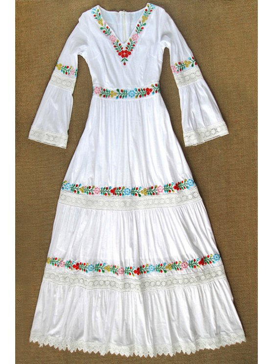 new Floral Embroidery V Neck Long Sleeve Maxi Dress - AS THE PICTURE S