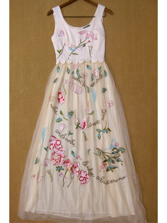 trendy Floral Embroidery Sleeveless Maxi Dress - SHALLOW PINK S