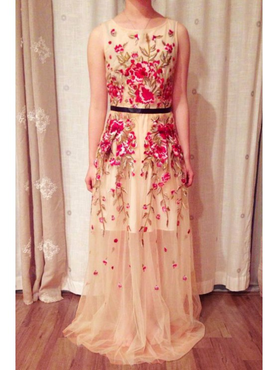 trendy Flower Embroidery Sleeveless Maxi Dress - SHALLOW PINK S