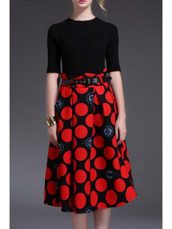 outfits Long Sleeve Polka Dot Midi Dress With Belt - BLACK S