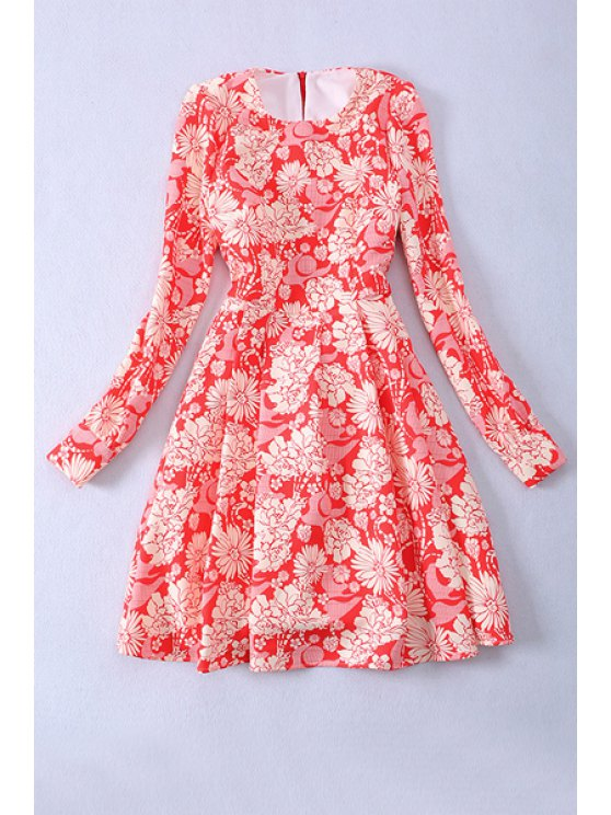 trendy Floral Print Fit and Flare Dress - RED S