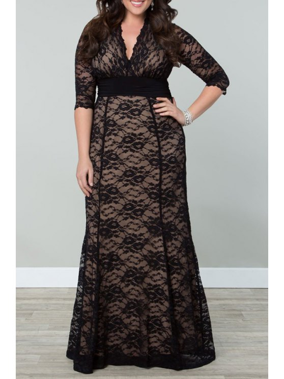 latest Solid Color Half Sleeves V-Neck Plus-Sized Lace Dress - BLACK 2XL