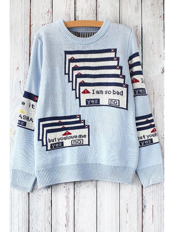outfit Printed Round Collar Long Sleeves Pullover Sweater - LIGHT BLUE ONE SIZE(FIT SIZE XS TO M)