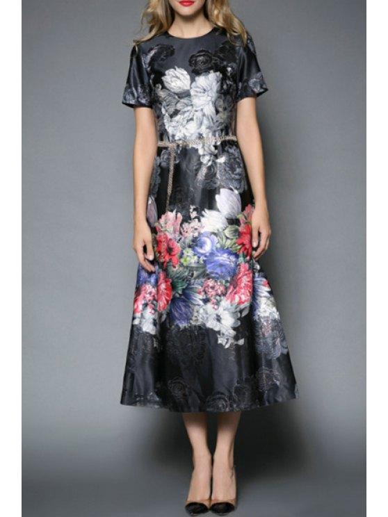 online Short Sleeve Floral Jacquard Prom Dress - BLACK S