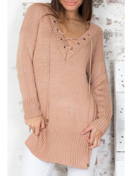 chic Pure Color Plunging Neck Side Slit Pullover Sweater - KHAKI ONE SIZE(FIT SIZE XS TO M)