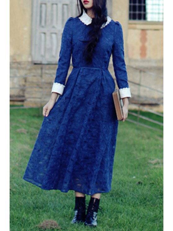 fashion Blue Openwork Lace Hook Dress - BLUE S