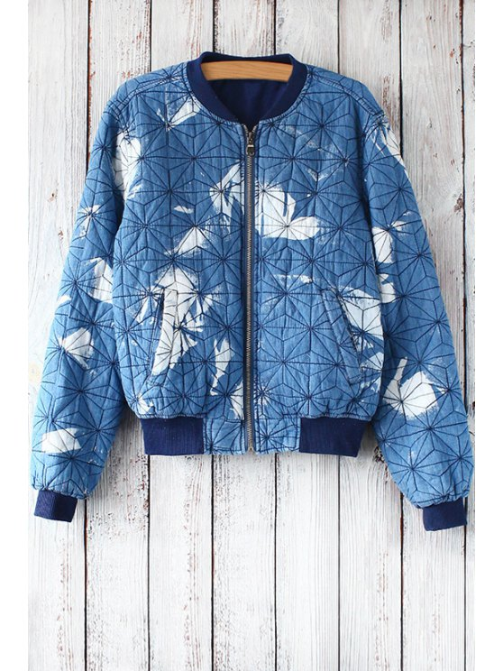 shop Argyle Pattern Stand Collar Long Sleeves Printed Coat - BLUE ONE SIZE(FIT SIZE XS TO M)