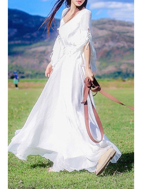 fashion Bell Sleeve White Fairy Dress - WHITE L