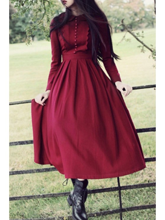 outfit Peter Pan Collar Pleated Claret Dress - CLARET S
