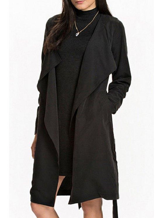 Manteau à fourreau à ceinture auto-cravate - Noir S