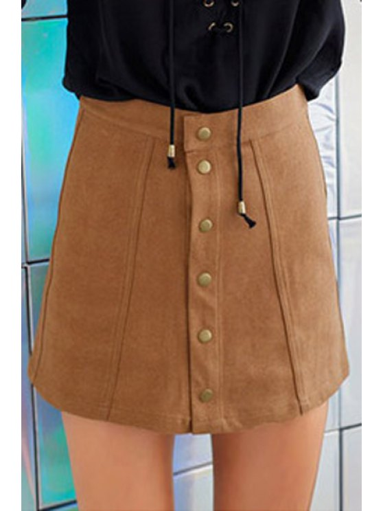 affordable Khaki High Waisted A Line Skirt - KHAKI S