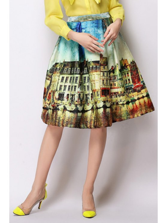 shops A-Line Scenery Print Midi Skirt - YELLOW L